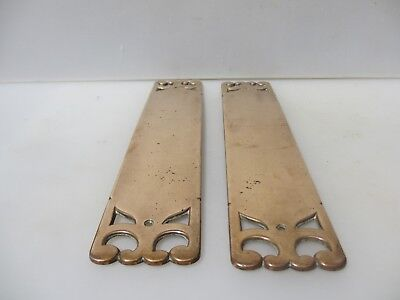 Antique Bronze Door Handles Finger Push Plates Brass Art Nouveau Victorian 1893