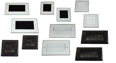 BRUSH FACE PLATES Single Gang & Double Gang in BLACK or WHITE Tidy Cable Entry