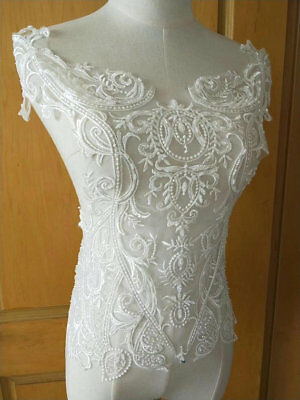 1pc Ivory Pearl Bead Bridal Wedding Lace Applique Floral Embroidered Exquisite