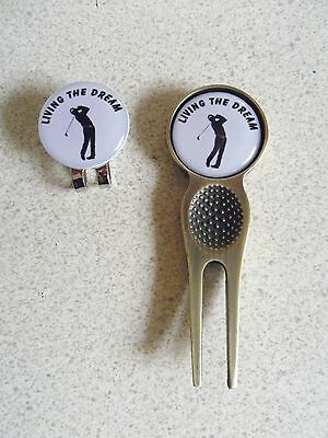 2 Only Living The Dream Golf Ball Markers - A Quality Divot Tool Plus A Hat Clip
