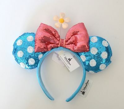 Disney Parks Minnie Mouse Ears Headband Blue Polka-dot Pink Bow with Flower NWT