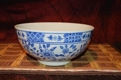 "Vintage Asian Porcelain Blue & White Large Serving Bowl Floral Design 10""x4 5/8"""