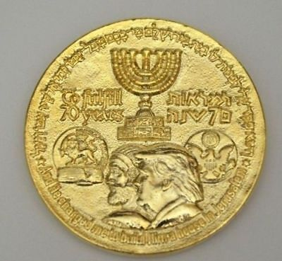 70 Years King Cyrus Donald Trump Jewish Temple Coin Authentic Gold Plating 2018