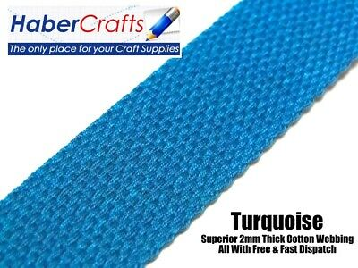 Turquoise 25mm Cotton Webbing Tape Belting Fabric Strap Bag Making Strapping