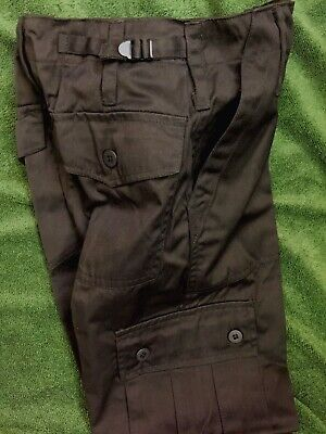"Kids All Black Military Trouser and Waistcoat 11-12 years 26"" Waist Army Combat"