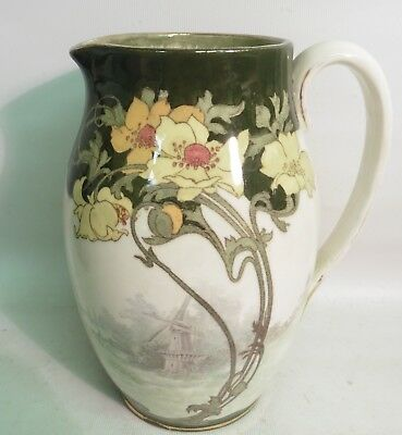 Royal Doulton Art Nouveau Water Jug Decorated With Windmills & Clematis