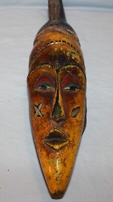 Vintage Wood African Mask Handcrafted Ivory Coast West Africa