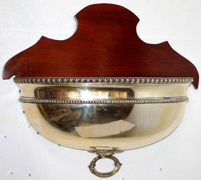 Antique Large Federal Mahogany Hanging Wall Planter /jardiniere W/ Copper Insert
