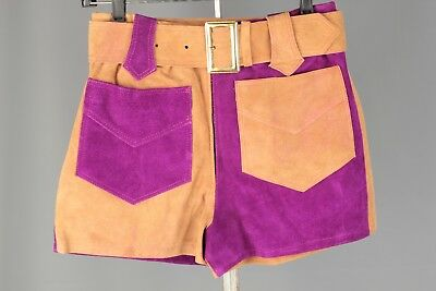 VTG Women's 1960s 1970s Color Block Suede Hot Pants #2235 60s 70s Gogo Shorts