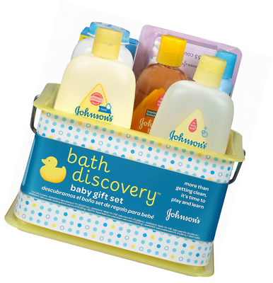 Johnson's Baby Bath Discovery Gift Set For Parents-To-Be Caddy w/Bath Essentials