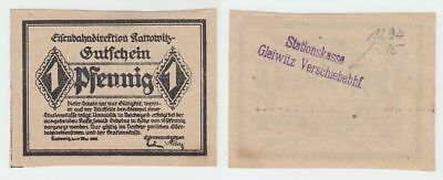 Kattowitz,  Eisenbahndirektion 1 Pfennig  27. Mai 1920  Rs. Stpl. Sationskasse G