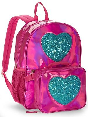 "Pink Heart 16"" Backpack With Detachable Lunch Bag"