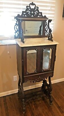 Antique victorian walnut ladies parlor secretary desk marble mirror