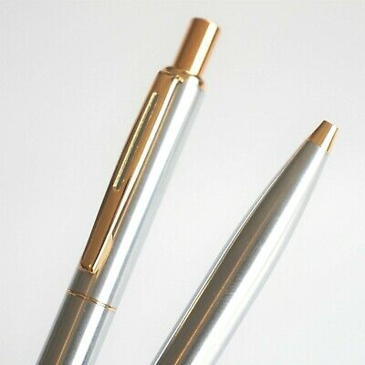 BAOER #001 Brushed Steel Gold Trim Ballpoint Pen Blue/Black Ink G2 - UK SOLD
