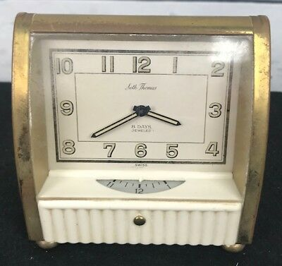 Vintage Art Deco SETH THOMAS 8 Day 2 Sided Faced Alarm Clock 7 Jeweled