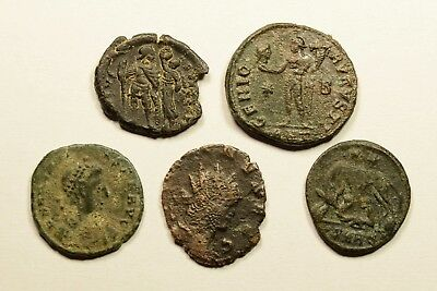 Lot Of 5 Imperial Roman Bronze Coins For Identifying - 46