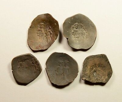 Lot Of 5 Ancient Byzantine Cup Coins For Identifying