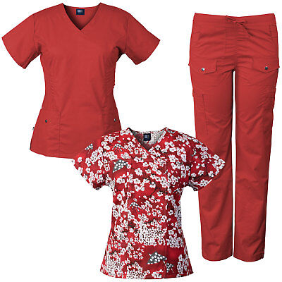 Medgear 3-Piece Women's Stretch Medical Scrubs Set & Printed Top Combo 7903-SHRE