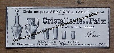 Publicité ancienne Cristallerie de la Paix, 1900, Paris,service cottage,clipping