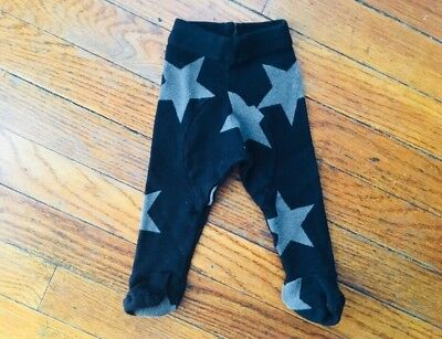 Nununu Baby Star Print Pants Size Newborn In Black/Grey