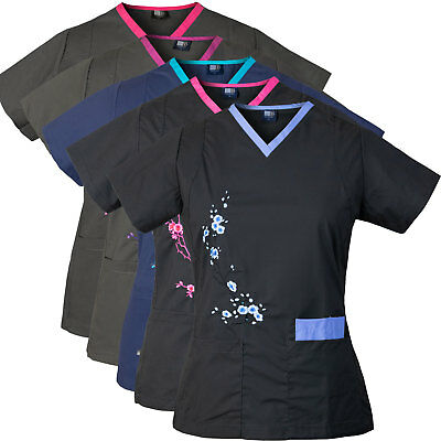 Medgear Women's Stretch Medical Scrubs Top with Embroidery 7902T