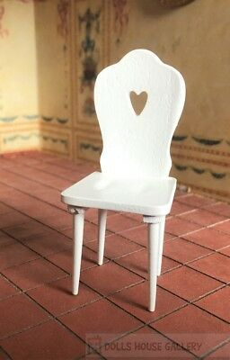 White Heart Chair, Dolls House Miniature, 1:12 Scale