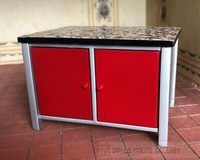 Modern Red Kitchen Island With Doors On Both Sides, Dolls House Miniature, 1:12