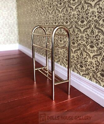 Brass Towel Rack, Dolls House Miniature, 1:12 Scale, Bathroom