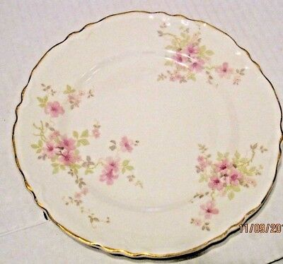 WS George Radisson 296A Scalloped edge gold trim pink flowers plate b12
