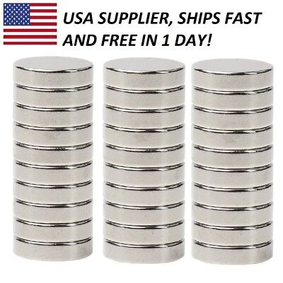 30 pieces 1/2 x 1/8 Inch Strong Neodymium Rare Earth Disc Magnets N48