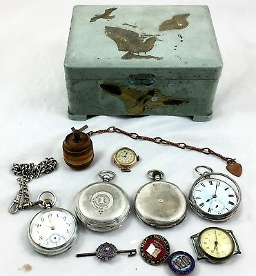 Collection Of Silver And Gold Pocket Watches And Other Pieces ** Silver Chain **