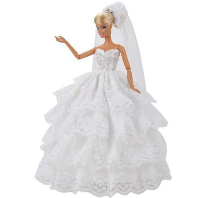 Barbie Doll Sized Gorgeous Traditional White 2 Piece Wedding Dress & Veil Uksell