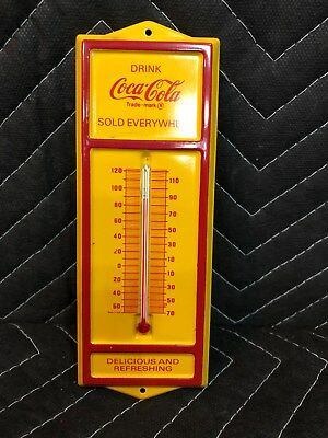 Vintage 1970's Coca Cola Sold Everywhere Thermometer Metal Coke Sign