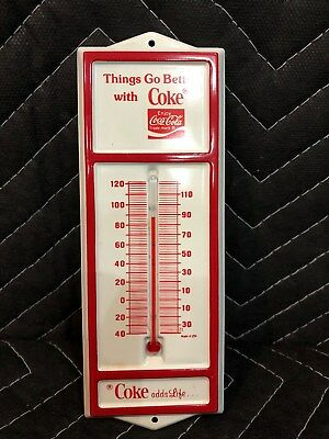 Vintage 1970's Coca Cola Things Go Better With Coke Thermometer Metal Soda Sign