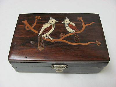 Fine Old Chinese Rosewood Box Carved with Birds Design