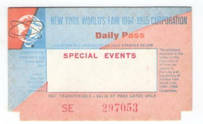 Fmra Nywf New York Worlds Fair 1964-1965 Special Events Daily Pass Ticket