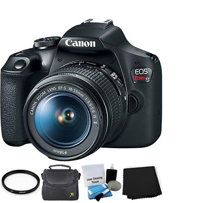 Canon EOS Rebel T7 Digital SLR Camera w/18-55mm Lens Starter Bundle