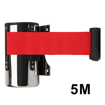 5M Red Belt Stanchion Queue Barrier  Wall Mount Retractable Ribbon Crowd Control