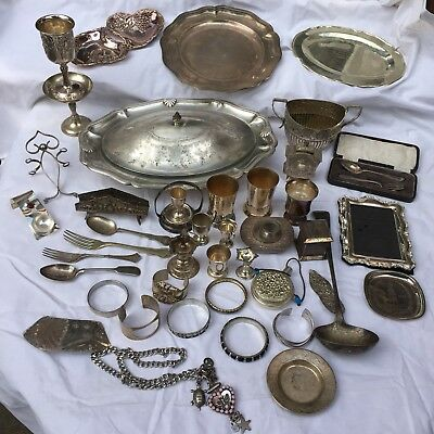 Vintage Joblot White Metal Silver Plate Various Pieces Ages Jewellery Dishes Etc