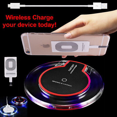 Clear Qi Wireless Fast Charger Dock Charging Pad+Receiver F iPhone 5 6 6S 7 Plus