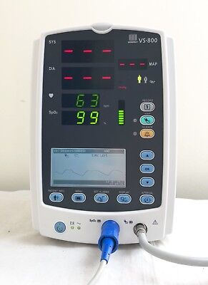 MINDRAY VS-800 VITAL SIGNS PATIENT MONITOR & GENUINE LEADS SpO2 + NIBP DATASCOPE