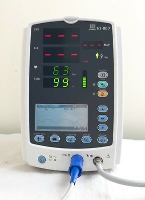 MINDRAY VS-800 VITAL SIGNS PATIENT MONITOR & LEADS SpO2 + NIBP DATASCOPE