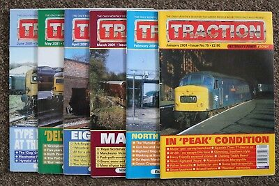 Job Lot of 6 TRACTION magazines - January to June 2001 - issues nos. 75-80