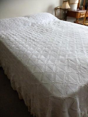 "Antique Victorian Crocheted Double Bedspread / Throw / Quilt 88"" x 86"" c1900"