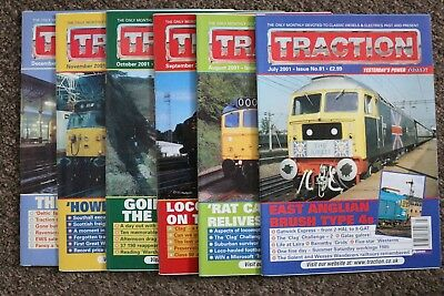 Job Lot of 6 TRACTION magazines - July to December 2001 - issues nos. 81-86