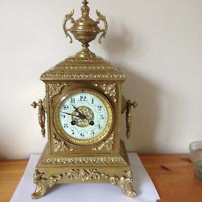 Japy Freres Brass Gilt Striking Mantle Clock,  Nice