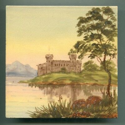"""Hand painted 6"""" square Edwardian tile by Craven Dunnill, c1905"""