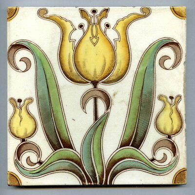 """Transfer printed & hand tinted 6"""" square Art Nouveau tile by WTH Smith, c1905"""