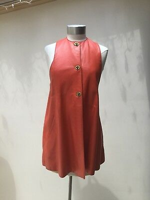 Vintage Bonnie Cashin for Sills Tangerine Leather Tunic