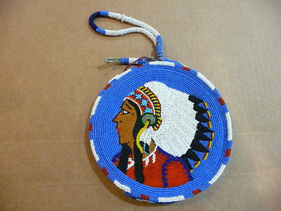 Small  Round Vintage Beaded Bag, Purse, Leather - FREE SHIPPING